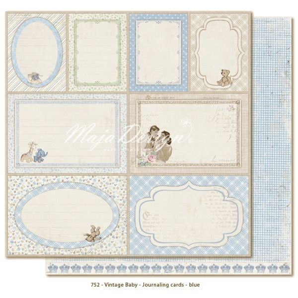 Maja Design Vintage Baby Journaling Cards Blue