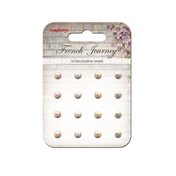ScrapBerry´s Decorative Brads French Journey Pearl White, Pink & Peach