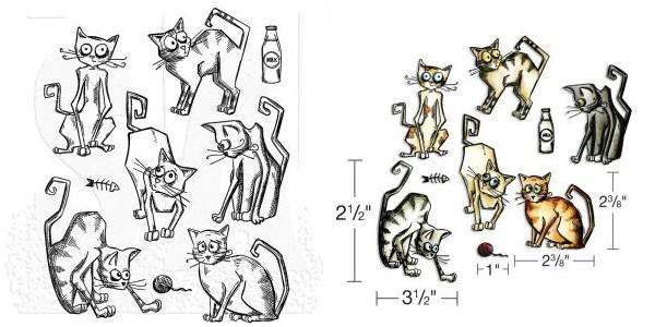 Aktion - Tim Holtz Crazy Cats Stempel & Stanzen im Set