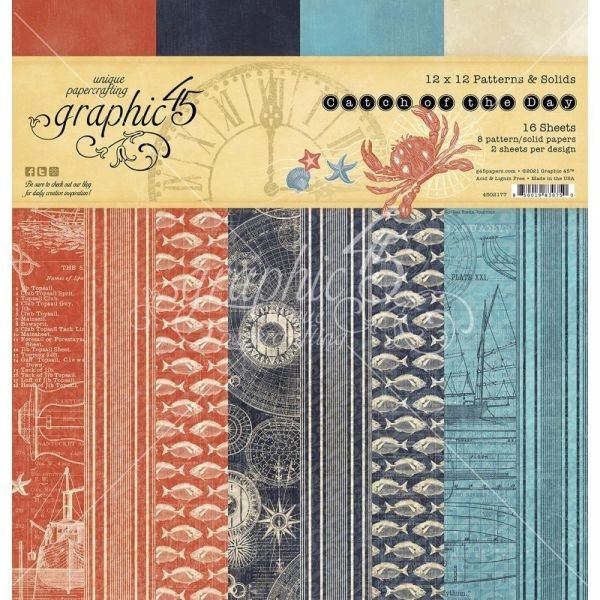 Graphic 45 Catch of the Day Patterns & Solids 12x12