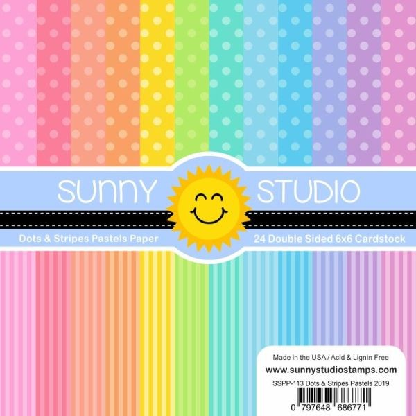 Sunny Studio Stamps Paper Pack 6x6 Dots & Stripes Pastels