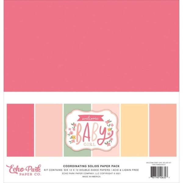 Echo Park Welcome Baby Girl Coordinating Solids Paper Pack