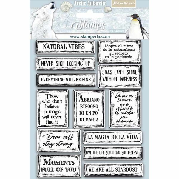 Stamperia Natural Rubber Stamp Arctic Antarctic Quotes