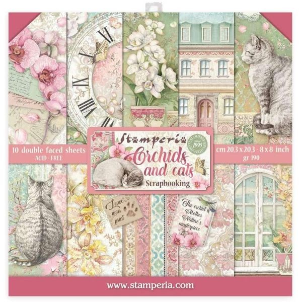 Stamperia Paper Pack Orchids and Cats 8x8