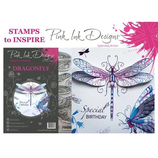 Pink Ink Designs Clearstamp Set Dragonfly