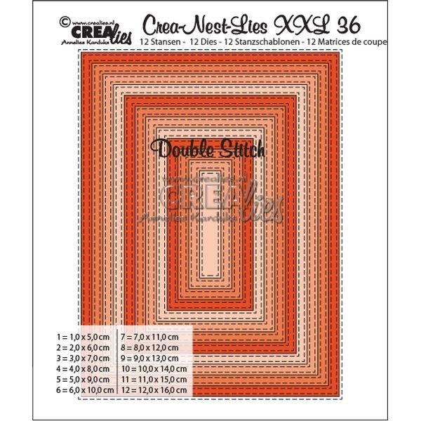 CreaLies Crea-Nest-Lies XXL No. 36 Rectangles Double Stitched