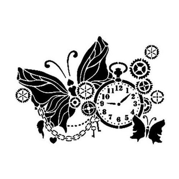 Cadence Stencil A4 Pocket Watch Butterfly