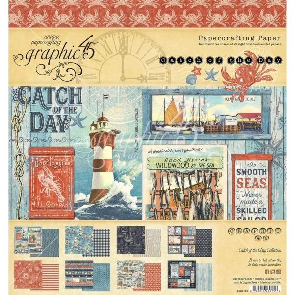 Graphic 45 Catch of the Day Paper Pad 8x8