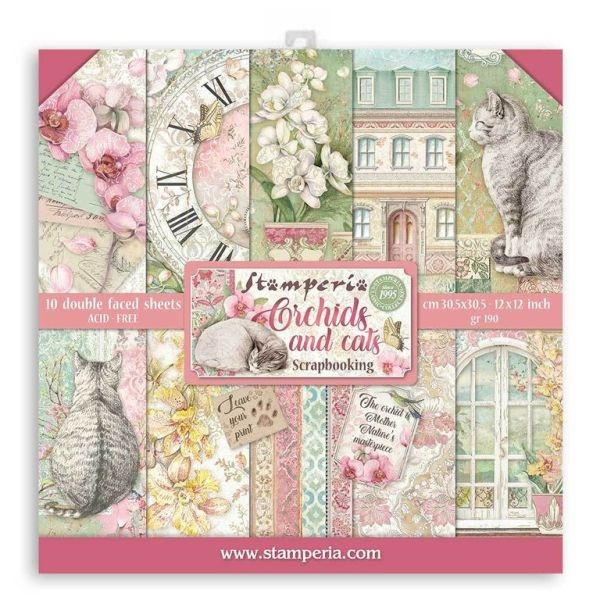 Stamperia Paper Pack Orchids and Cats 12x12