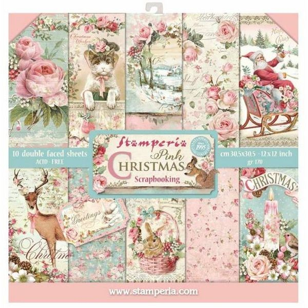 Stamperia Paper Pad Pink Christmas 12x12