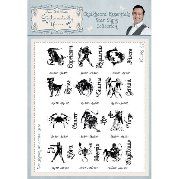 Sentimentally Yours Clearstamps Chalkboard Essentials Star Sign Collection