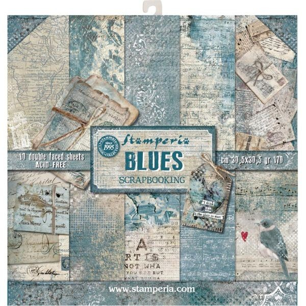 Stamperia Paper Pad Blues 12x12
