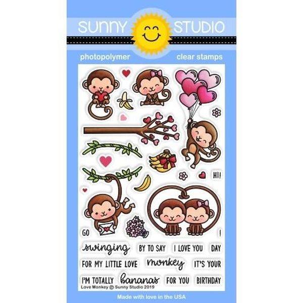 Sunny Studio Stamps Bundle Love Monkeys