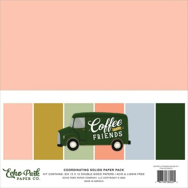Echo Park Coffe & Friends Coordinating Solids Paper Pack