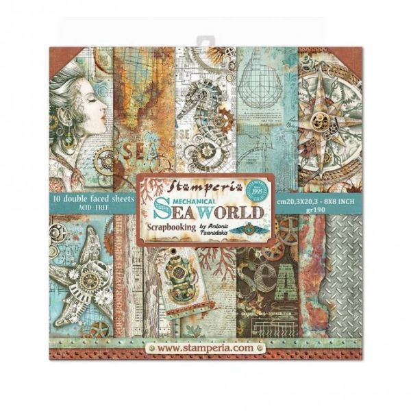 Stamperia Paper Pack Mechanical Sea World 8x8