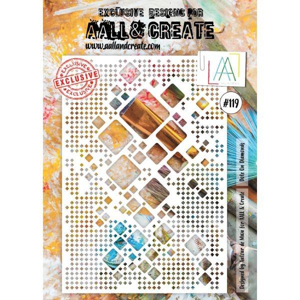 AALL & Create Stencil A4 No. 119 Dote on Diamonds