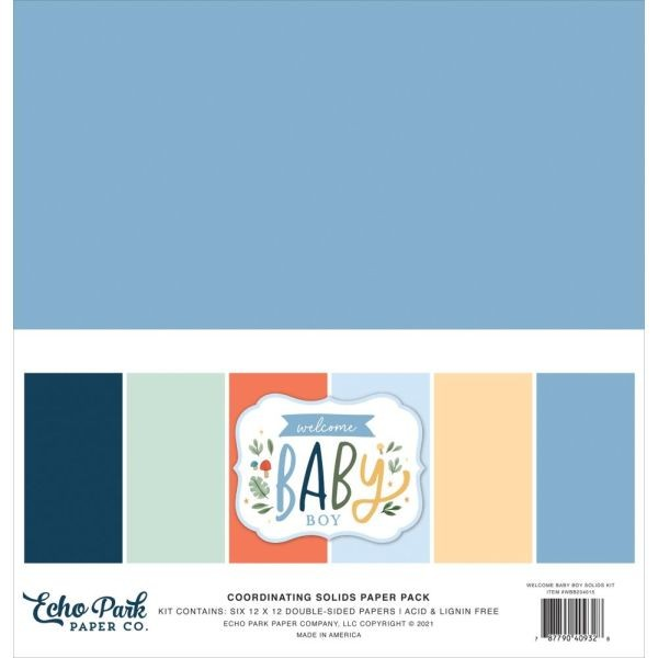 Echo Park Welcome Baby Boy Coordinating Solids Paper Pack