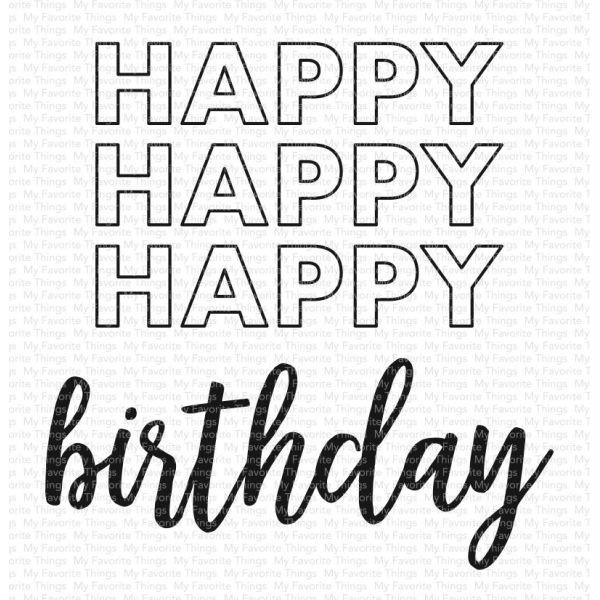 MFT Clearstamps Happy Happy Happy Birthday