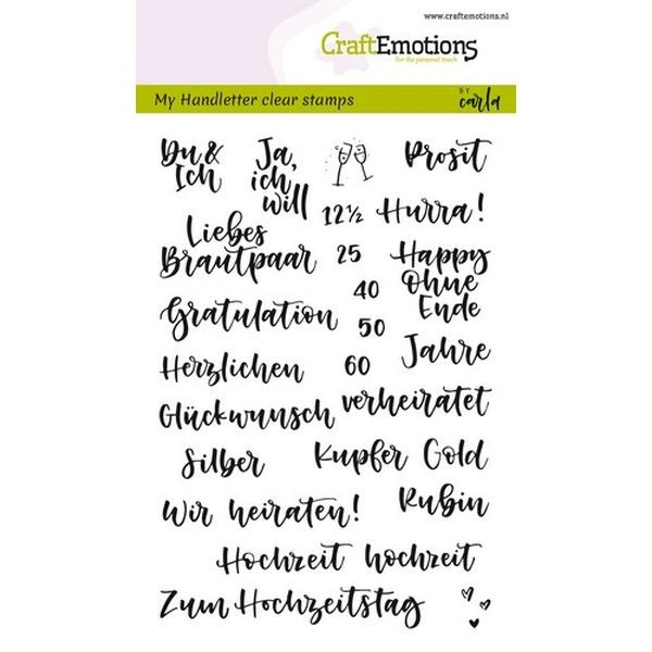 Craft Emotions Clearstamps Handlettering Hochzeit