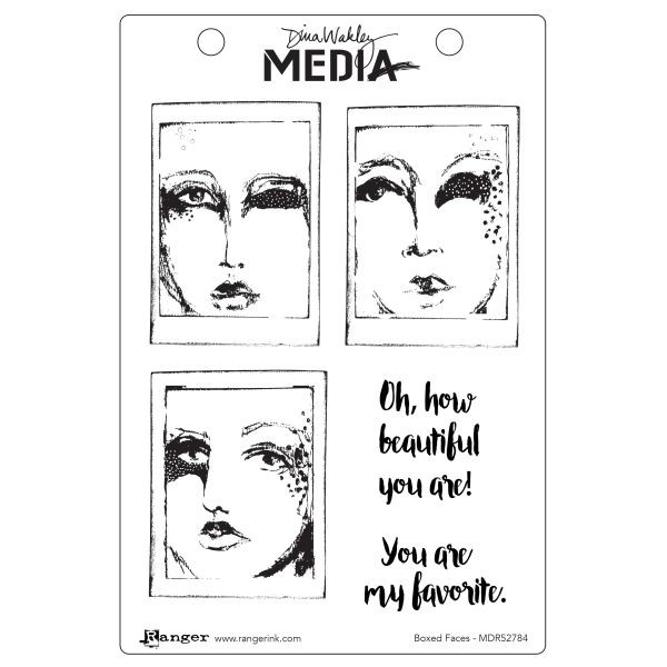 Dina Wakley Media Clingstamps Boxed Faces