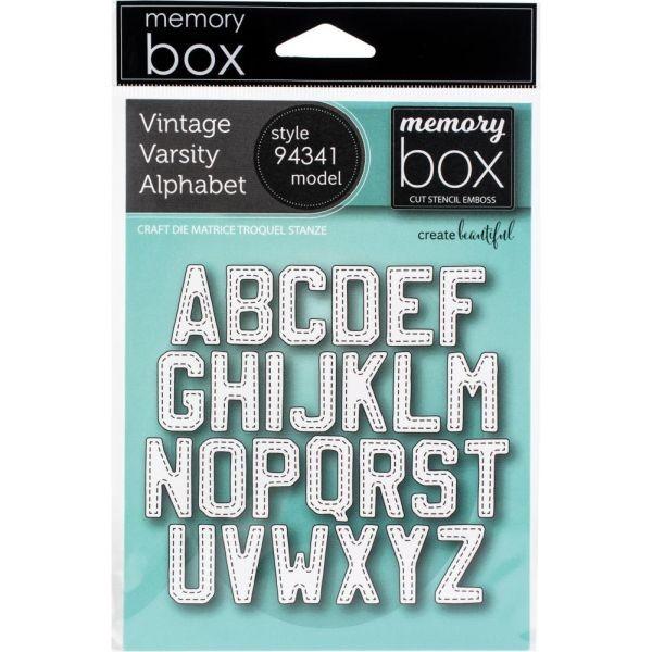 Memory Box Craft Die Vintage Varsity Alphabet