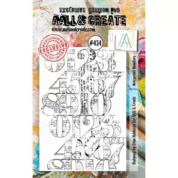 AALL & Create Clearstamps A7 No. 434 Newsprint Numbers