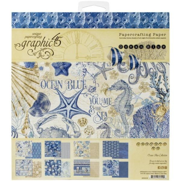 Graphic 45 Ocean Blue Paper Pad 8x8