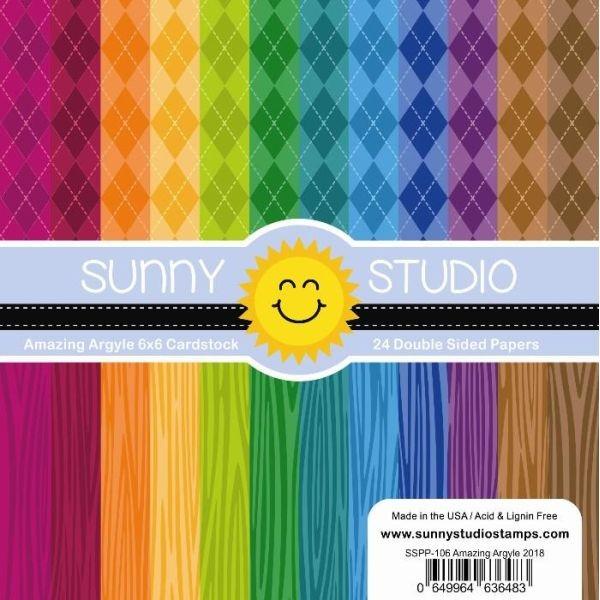 Sunny Studio Stamps Paper Pack 6x6 Amazing Argyle