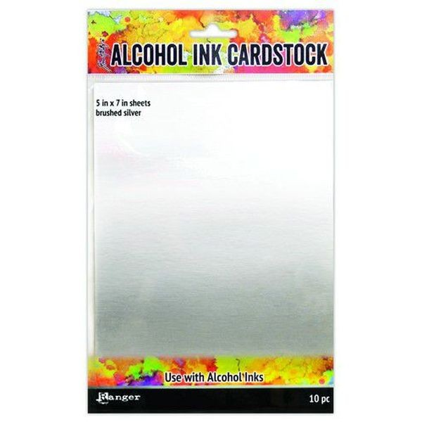 Tim Holtz Alcohol Ink Surfaces Brushed Silver 5x7