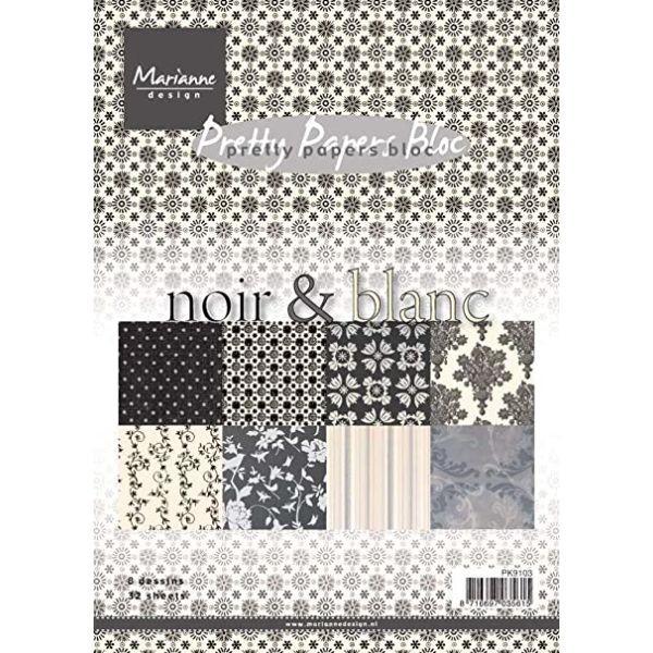 Marianne D Pretty Papers Bloc Noir & Blanc