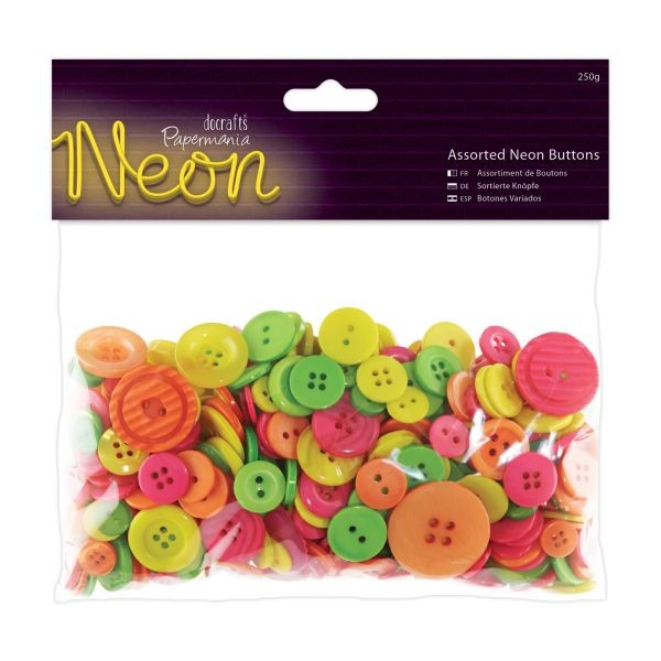 Papermania Assorted Buttons 250g Neon