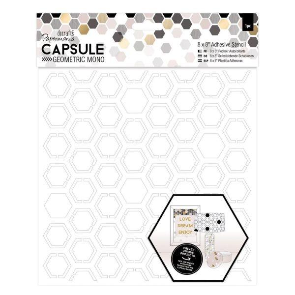 Papermania Capsule Geometric Mono Adhesive Stencil 8x8 Hexagons