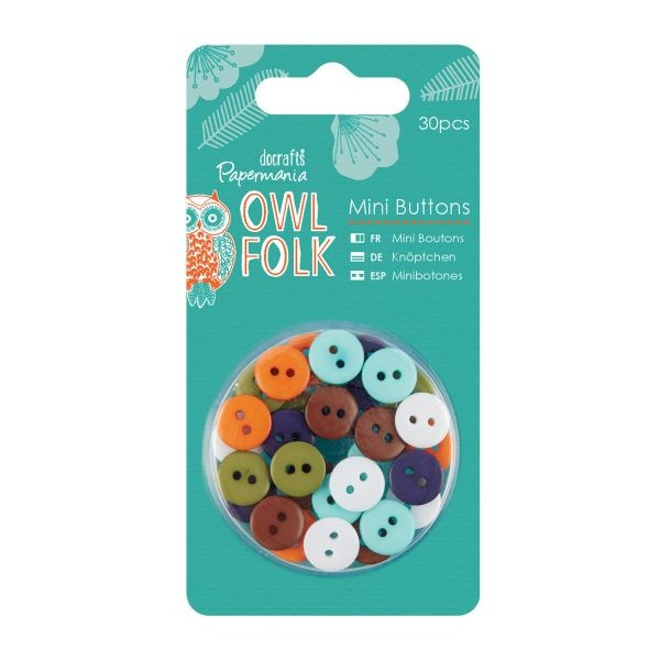 Papermania Owl Folk Mini Buttons
