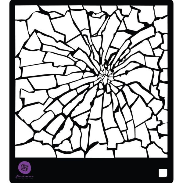 Prima Marketing Designer Stencil 6x6 Broken Glass