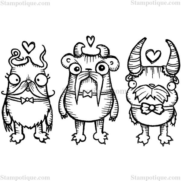 Stampotique Originals Smitten Mustache Monsters