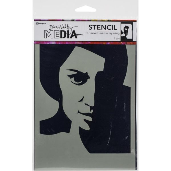 Dina Wakley Media Stencil Pensive Face