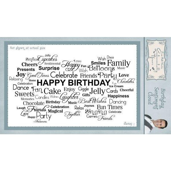 Sentimentally Yours Pre-Cut Rubberstamp Birthday Sentiment Cloud