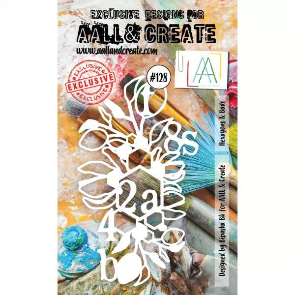 AALL & Create Stencil A6 No. 128 Hexagons & Buds