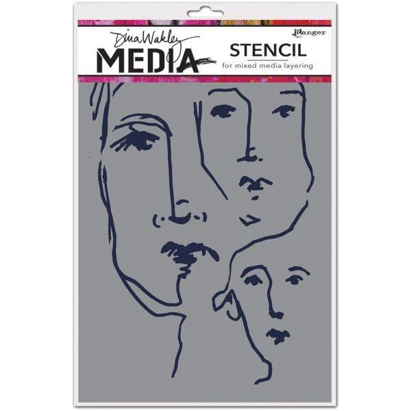 Dina Wakley Media Stencil Scribbled Faces