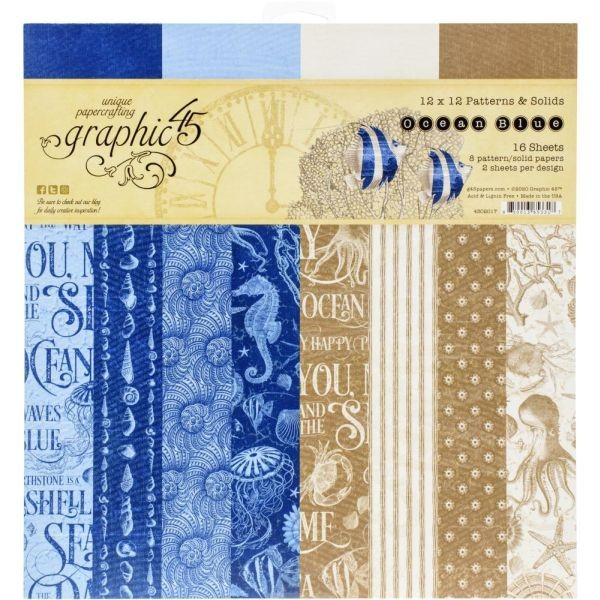 Graphic 45 Ocean Blue Patterns & Solids 12x12