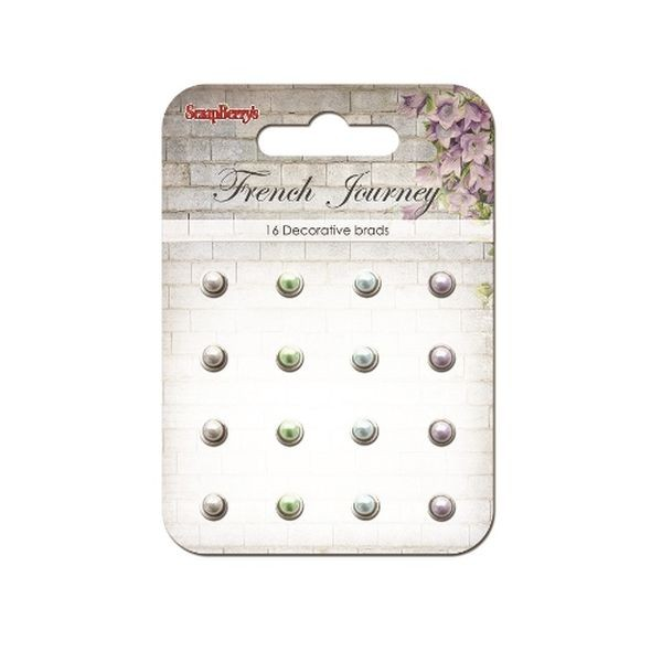 ScrapBerry´s Decorative Brads French Journey Pearl White, Lilay & Blue