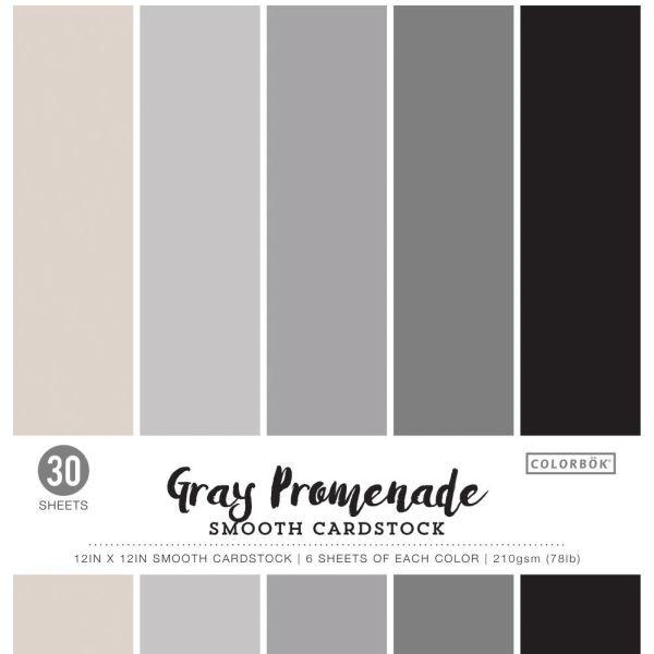 Colorbök Smooth Cardstock 12x12 Gray Promenade