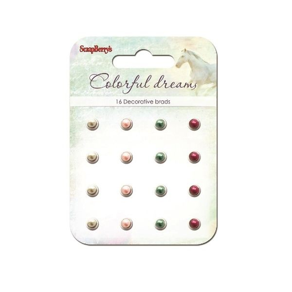 ScrapBerry´s Decorative Brads Colorful Dreams Pearl Crimson, Pink & Green