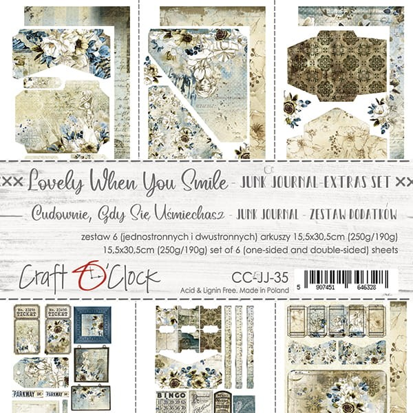 Craft o´Clock Lovely when You Smile Junk Journal Extras-Set
