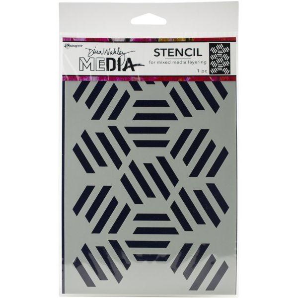 Dina Wakley Media Stencil Fractured Hexagons