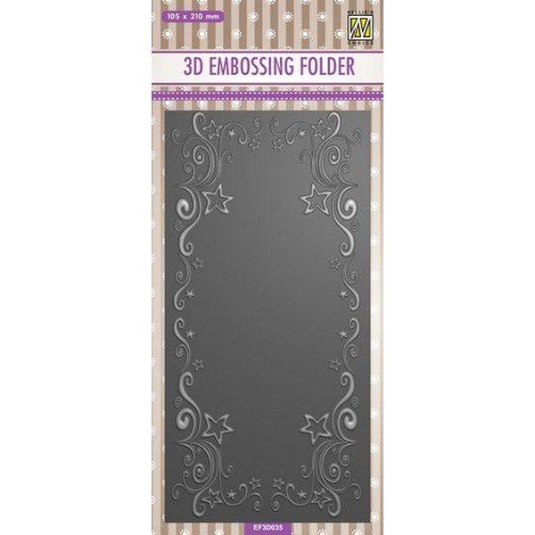 Nellie´s Choice 3-D Slimline Embossingfolder Curs-Stars Frame