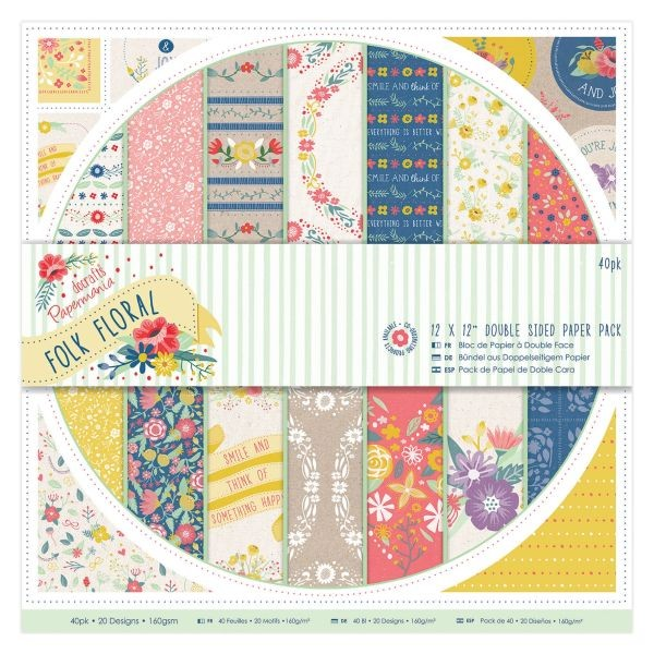 PMA Folk Floral Doublesided Paper Pack 12x12