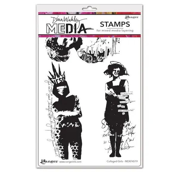 Dina Wakley Media Clingstamps Collaged Girls