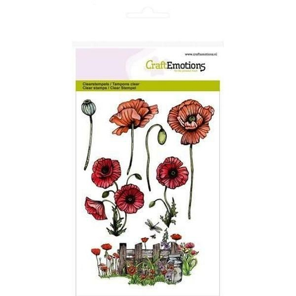 Craft Emotions Clearstamps Poppies Fence