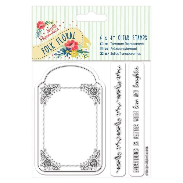 PMA Folk Floral Clearstamps 4x4 Tag